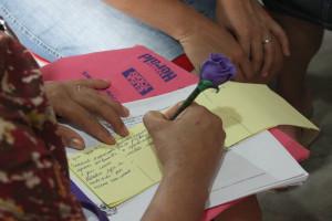 As participantes devem anotar suas metas e traçar um plano
